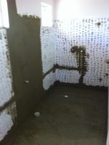 wet bathroom,walk in shower